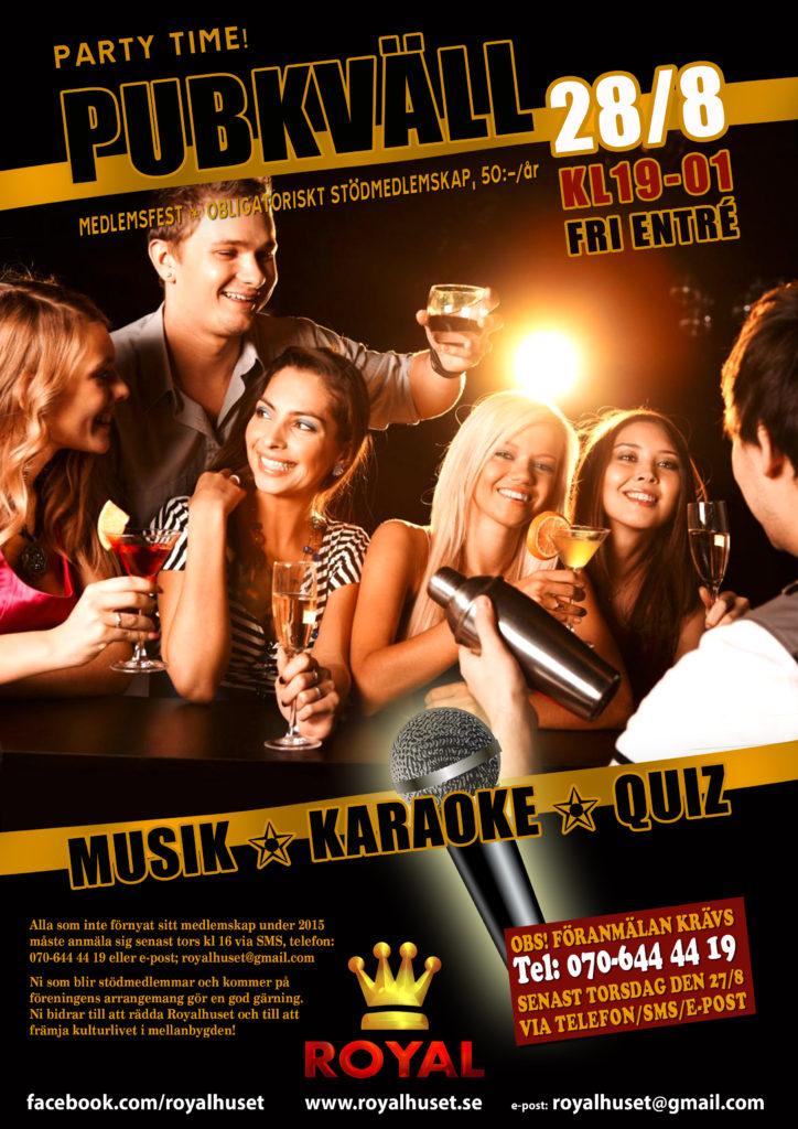 affish för evenemang Royalhuset karaokepub och musik quiz,