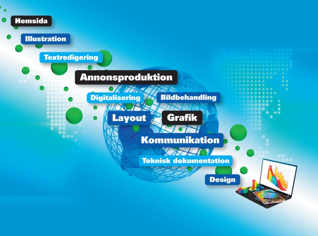 Grafiskt arbete, design, pre print, grafisk produktion, layout och bildhantering