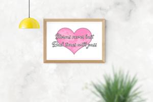 rosa hjärta med eget budskap